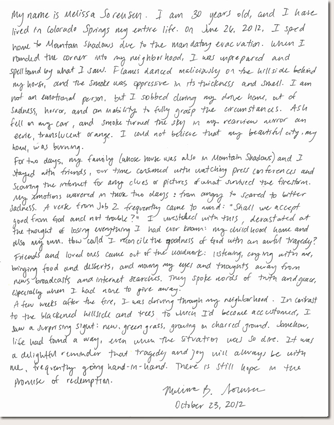 Melissa Sorensen Photo Story Letter