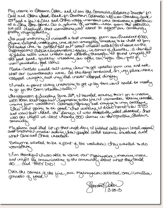 Shannon Coker Photo Story Letter